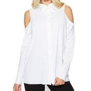 Lysse White Cold Shoulder Long Sleeve Top S NWT